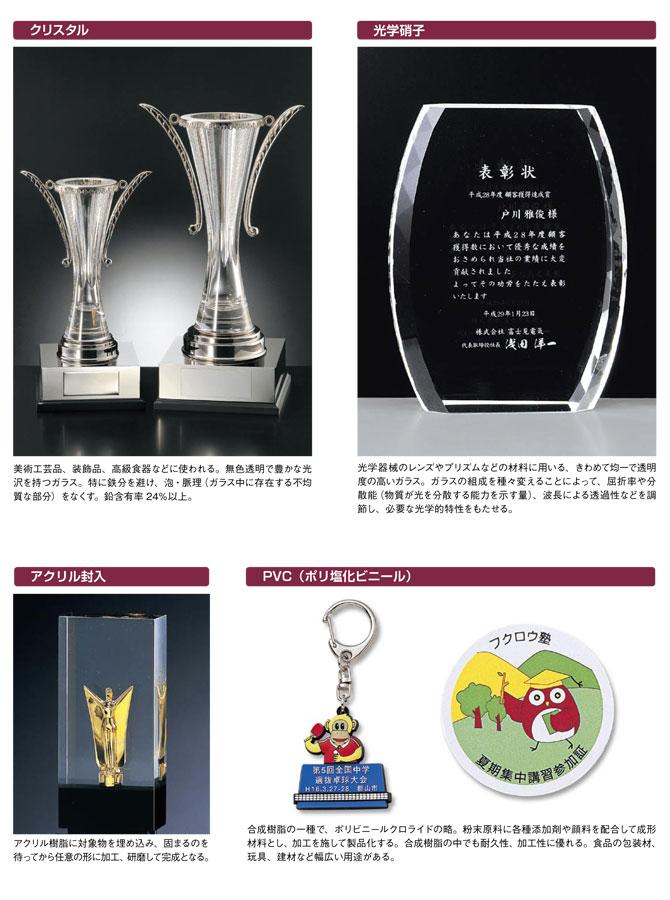 表彰用記念盾などによく使われる素材:クリスタル・アクリル封入・光学ガラスなどの説明