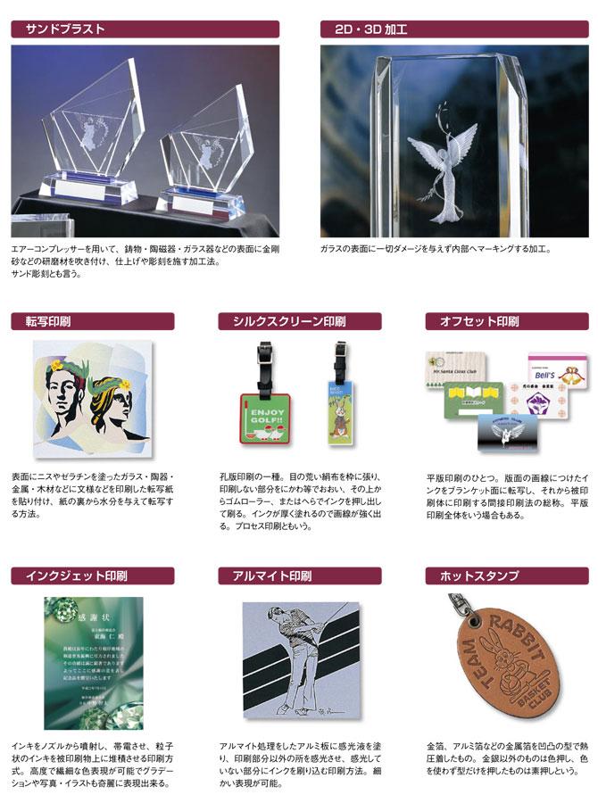 記念盾・ネームプレート・キーホルダーなどに良く使われる素材:サンドブラスト・2D・3D・転写印刷・シルクスクリーン印刷などの説明