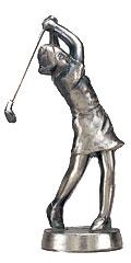 ゴルフ女ブロンズ人形
